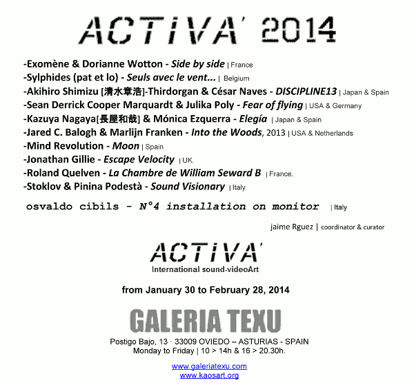 Flyer of the activa'2014 sound video art exhibition